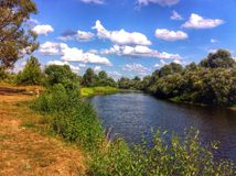 Russian river. In summer Royalty Free Stock Photos