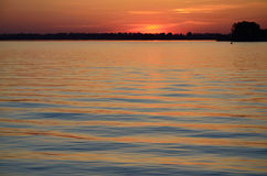 Russian river Volga at sunset Royalty Free Stock Photography