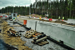Russian road construction Royalty Free Stock Images