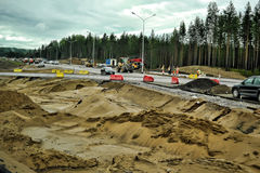 Russian road construction. Construction of a new highway, Russia Stock Photo