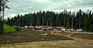 Russian road construction. Construction of a new highway, Russia Stock Images
