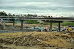 Russian road construction. Construction of a new highway, Russia Royalty Free Stock Photography