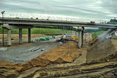 Russian road construction Stock Images
