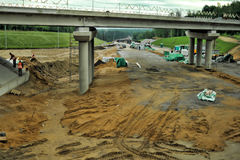 Russian road construction. Construction of a new highway, Russia Royalty Free Stock Images