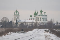 Russian road to monastery, winter time Stock Image