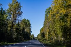 Russian roads in villages and forests stock photo