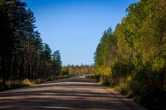 Russian roads in villages and forests royalty free stock image