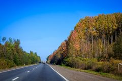 Russian roads in villages and forests royalty free stock images