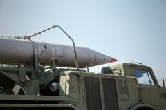 Russian rocket launcher on soviet military truck. Russian military ballistic missiles royalty free stock photography