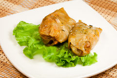 Russian rolls ( goloubets ) of cabbage and meat stock photo