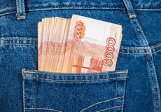 Russian rouble banknotes in the jeans pocket Stock Photography