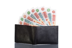 Russian rouble bills in black leather wallet Stock Images
