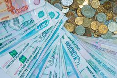 Russian rouble bills composition, different banknotes and coins Royalty Free Stock Images