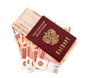 Russian rouble bills, train tickets and passport isolated on whi Royalty Free Stock Photo