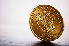 The Russian rouble coin. On the desk Royalty Free Stock Photo
