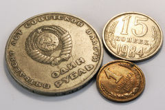 Russian rouble coins, soviet union Royalty Free Stock Images
