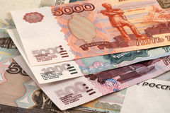 Russian roubles. 500, 1000 and 5000 roubles banknotes Stock Image