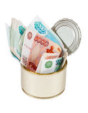 Russian roubles  bills  in  tin can Stock Photography