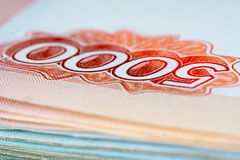 5000 and 1000 russian roubles closeup Royalty Free Stock Photos