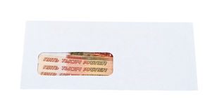 Russian roubles in the envelope Royalty Free Stock Photography
