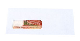 Russian roubles in the envelope Stock Photography