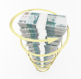 Russian roubles stack with rising arrow Royalty Free Stock Photo
