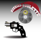 Russian roulette. Abstract colorful illustration with handgun having only one bullet. Russian roulette concept Royalty Free Stock Photos