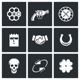 Russian roulette game icons. Vector Illustration. Stock Photos