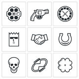 Russian roulette game icons. Vector Illustration. Stock Images