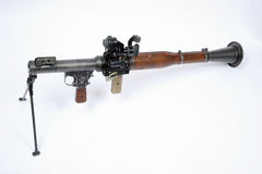 A Russian RPG 7 rocket launcher with bipod mount and long range optical sight. A Russian RPG 7 rocket launcher with bipod fitted. A rocket propelled grenade Royalty Free Stock Photography