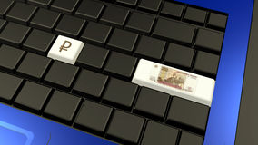 Russian ruble banknote and sign on the laptop keyboard. – 3d illustration royalty free stock photo