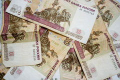 Russian ruble banknotes. Pile of Russian ruble banknotes Stock Photography