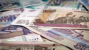 Russian Ruble Banknotes Rotating. Pile of mixed Russian rubble banknotes turning slowly stock video