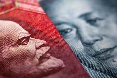 Russian ruble bill & yuan banknote Royalty Free Stock Photos