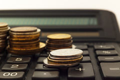 Russian ruble on the calculator Stock Photography