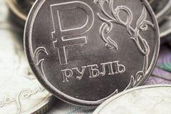 Russian ruble closeup. Russian coin one ruble closeup Stock Photos