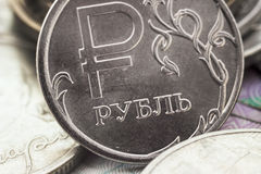Russian ruble closeup Stock Photos