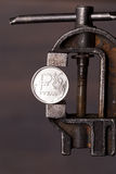 Russian ruble coin in old vise Stock Photography