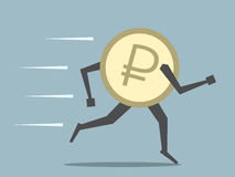 Russian ruble coin running Stock Images