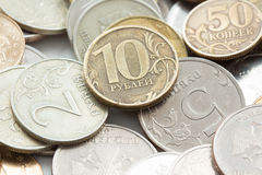 Russian ruble coins closeup Royalty Free Stock Photos