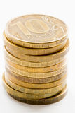 Russian ruble coins closeup Royalty Free Stock Photo
