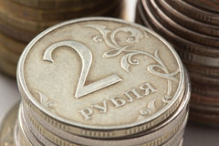 Russian ruble coins closeup Royalty Free Stock Image