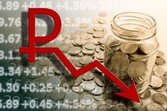 Russian ruble coins and ruble symbol and digits Stock Photos