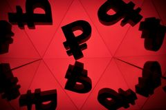 Russian Ruble Currency Symbol With Many Mirroring Images of Itself. On Red Background stock images