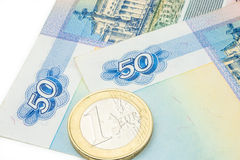 Russian ruble and euro historical exchange rate Stock Images