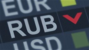 Russian ruble fall, world exchange market, currency rate fluctuating, screen. Stock photo stock image