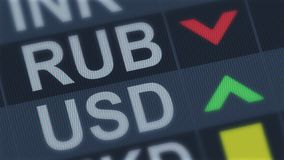 Russian ruble falling, American dollar rising, exchange rate fluctuation, screen. Stock photo stock images