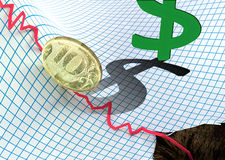 Russian ruble falling. Down concept Royalty Free Stock Photo