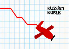Russian ruble financial crash. Russian ruble financial crisis crash due to international sanctions after Ukraine conflict and MH17 crash Royalty Free Stock Photography
