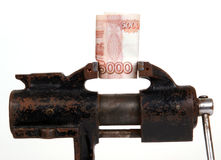 Russian Ruble in the grip of economic crisis Stock Images